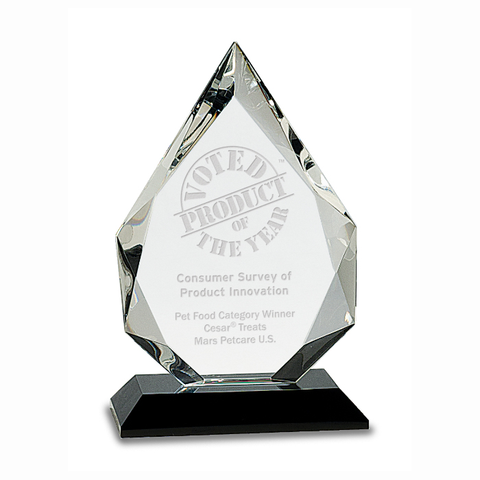 Dynamic Star Crystal Award on Wood Base that can be engraved and personalized
