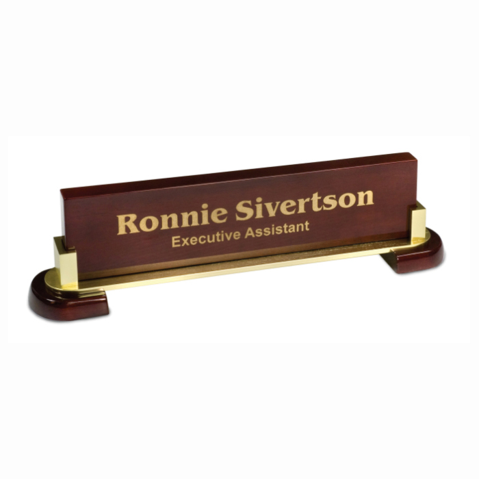 Rosewood Piano Finish Desk Wedge with Metal Name Bar