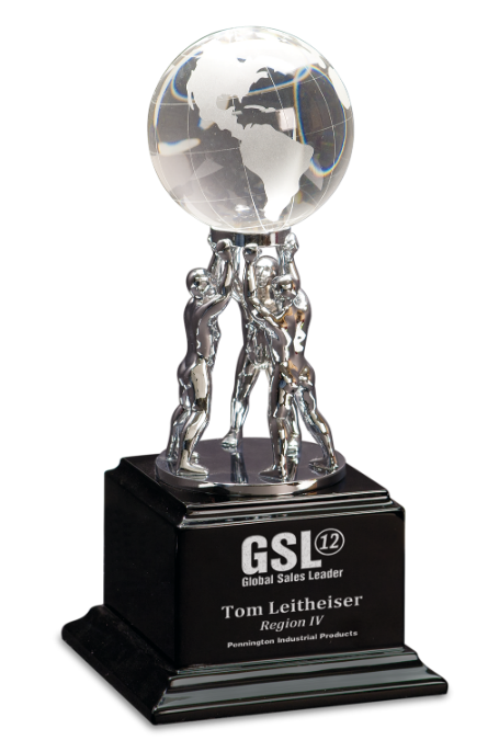 Crystal Globe on Silver Metal Teamwork Stand/Black Base