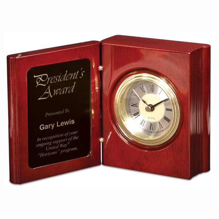 Rosewood Finish Piano Book Clock