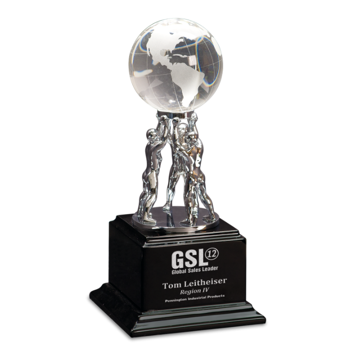 Crystal Globe on Silver Metal Teamwork Stand on Black Base
