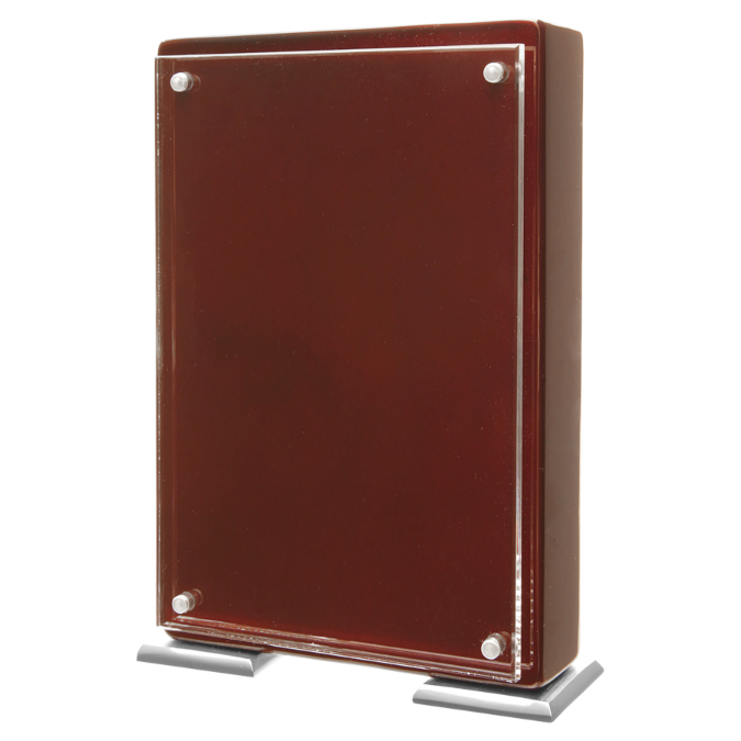 Rosewood Finish High Gloss Floating Acrylic Standup Plaque