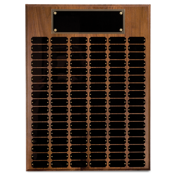 Genuine Walnut Step Edge Perpetual Plaque with 12, 18, 24, 36, 45, 60, 72, 84 or 102 Plates