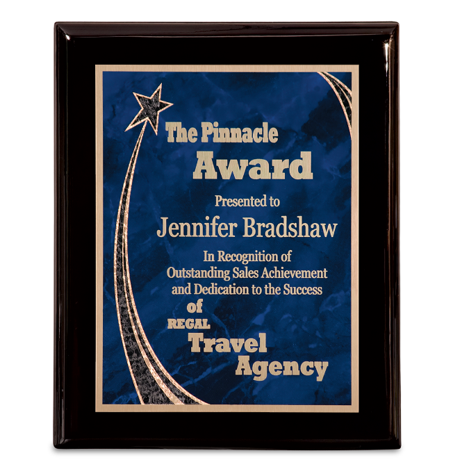 Premium Black Piano Finish Plaque with Blue Rising Star Plate