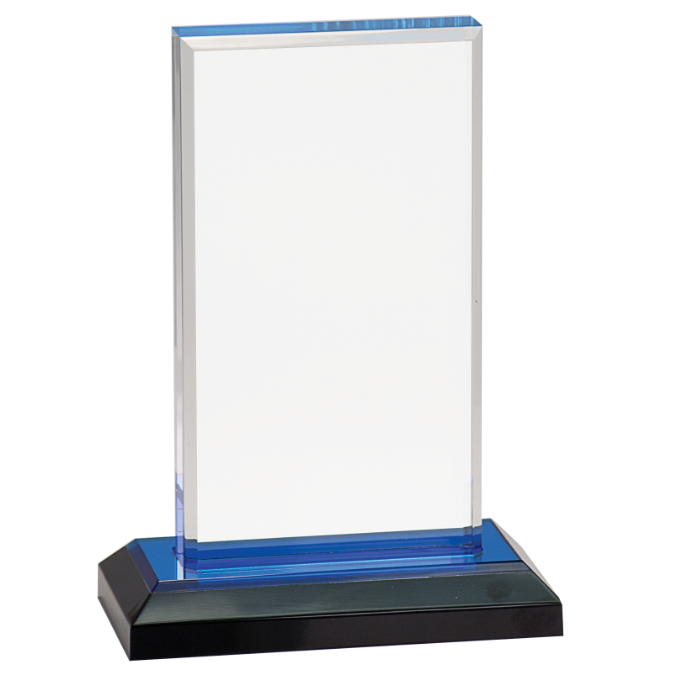 Blue Beveled Impress Acrylic with Base