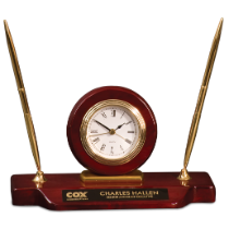 Rosewood Piano Finish Desk Clock on Base with 2 Pens