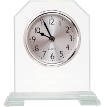 Clipped Corner Glass Clock with Clear Glass Base